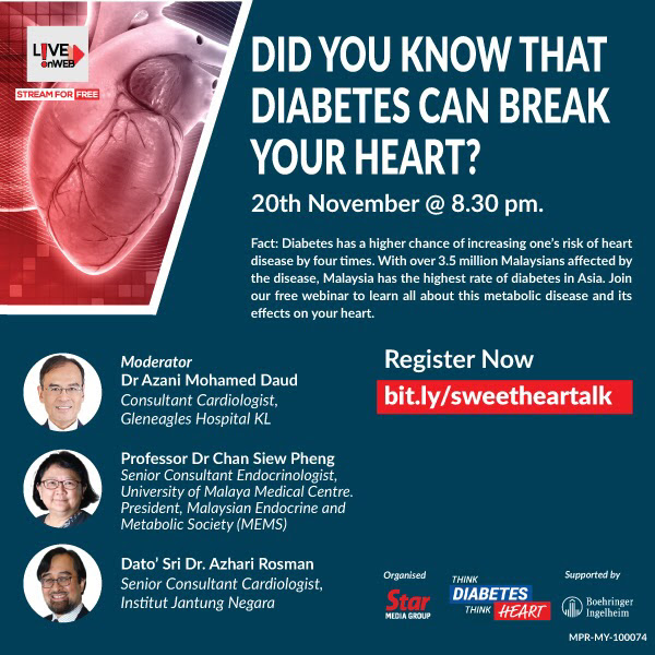 "Webinar ""Did You Know That Diabetes Can Break Your Heart?"" on 20.11.2020 at 8.30pm"